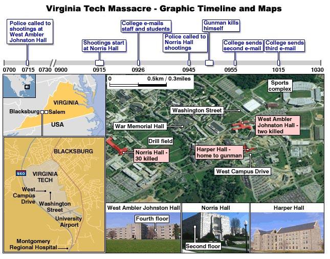 Virginia Tech Massacre Com Graphic Timeline And Maps